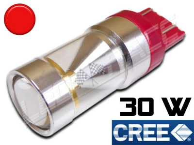 Ampoule T20 / W21/5W - 7443 - 30 Watts - Leds CREE - Rouge