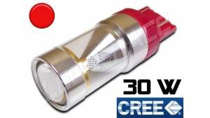 Ampoule Led T20 / W21/5W - 7443 - 30 Watts - Leds CREE - Rouge