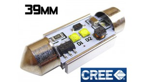 Navette 39mm - C7W - 10 Watts CREE - radiateur - Blanc 6000K