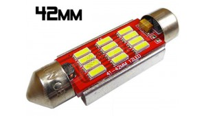 Navette Led 42mm - C10W-12 Leds smd 4014 - radiateur - Blanc 6000K