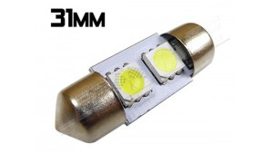 Navette Led 31mm C3W - 2 Leds smd 5050 - Blanc 6000K