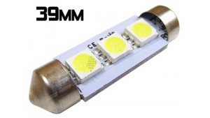 Navette Led 39mm -C7W-3 Leds smd 5050 - Blanc 6000K