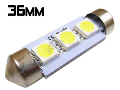 Navette Led 36mm -C5W-3 Leds smd 5050 - Blanc 6000K