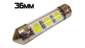 Navette Led 36mm - C5W-3 Leds smd 5050 - protection tube PVC - Blanc 6000K