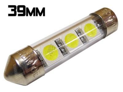 Navette Led 39mm -C7W-3 Leds smd 5050 - protection tube PVC - Blanc 6000K