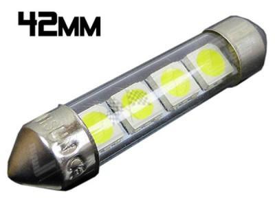 Navette Led 42mm - C10W-4 Leds smd 5050 - protection tube PVC - Blanc 6000K