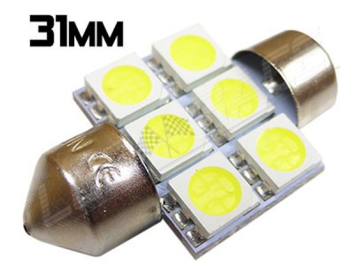 Navette Led 31mm - C3W-6 Leds smd 5050 - Blanc 6000K