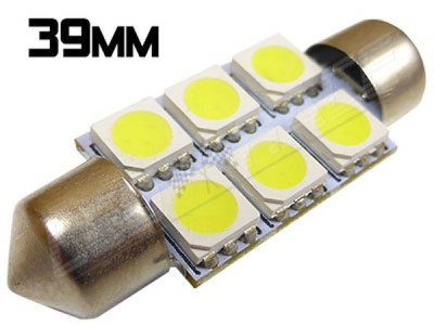 Navette Led 39mm - C7W- 6 Leds smd 5050 - Blanc 6000K