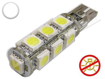 Ampoule Led T10 - culot W5W - 13 leds smd 5050 - sans erreur ODB - Blanc 6000K - 12v
