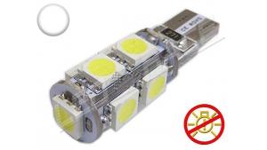 Ampoule Led T10 - culot W5W - 9 leds smd 5050 - sans erreur ODB - Blanc 6000K - 12V