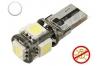 Ampoule Led T10 - culot W5W - 5 leds smd 5050 - sans erreur ODB - Blanc 6000K -12V