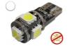 Ampoule Led T10 - culot W5W - 5 leds smd 5050 - sans erreur ODB - Blanc 6000K - Non polarisée -12V
