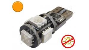 Ampoule Led T10 - culot W5W - 5 leds smd 5050 - sans erreur ODB - Orange - 12V