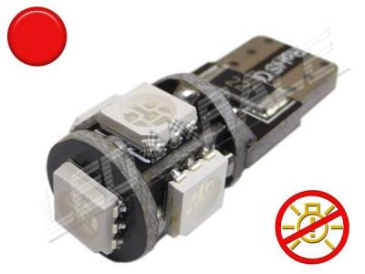 Ampoule Led T10 - culot W5W - 5 leds smd 5050 - sans erreur ODB - Rouge -12V
