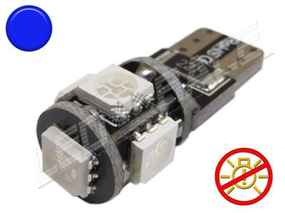 Ampoule Led T10 - culot W5W - 5 leds smd 5050 - sans erreur ODB - Bleu - 12V