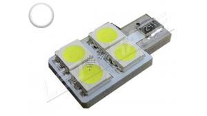 Ampoule Led T10 - culot W5W - 4 leds smd 5050 - SIDE 4 - Blanc 6000k