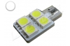 Ampoule led Led T10 - culot W5W - 4 leds smd 5050 - SIDE 4 - Blanc 6000k
