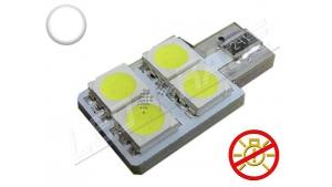 Ampoule Led T10 - culot W5W - 4 leds smd 5050 - SIDE 4 - sans erreur ODB - Blanc