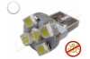 Ampoule Led T10 - culot W5W - 5 leds smd 3528 - sans erreur ODB - Blanc 6000k