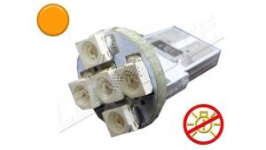 Ampoule Led T10 - culot W5W - 5 leds smd 3528 - sans erreur ODB - Orange