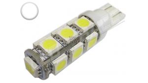 Ampoule Led T10 - culot W5W - 13 leds smd 5050 - Blanc 6000k