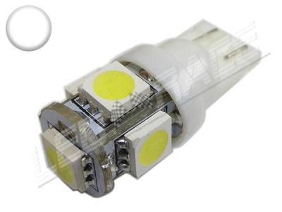 Ampoule led T10 - culot W5W - 5 leds smd 5050 - Blanc