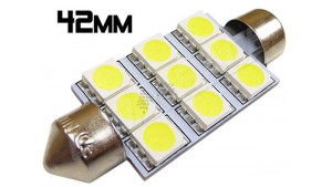 Navette Led 42mm -C10W- 9 Leds smd 5050 - Blanc 6000K