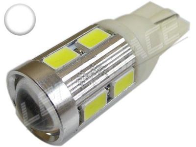 Ampoule Led T10 - culot W5W - 10 leds smd 5630 - Blanc 6000K