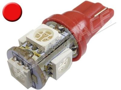 Ampoule Led T10 - culot W5W - 5 leds smd 5050 - Rouge