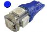 Ampoule Led T10 - culot W5W - 5 leds smd 5050 - Bleu