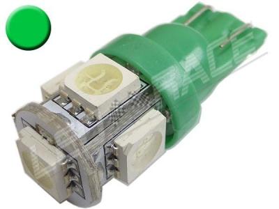 Ampoule Led T10 - culot W5W - 5 leds smd 5050 - Vert