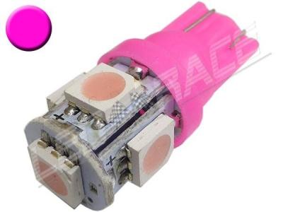 Ampoule Led T10 - culot W5W - 5 leds smd 5050 - Rose