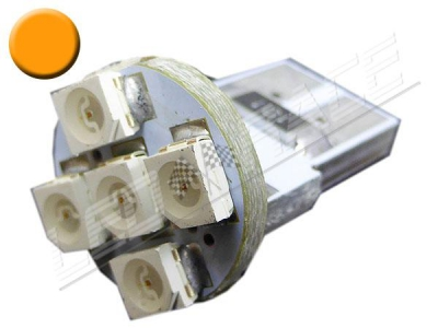 Ampoule Led T10 - culot W5W - 5 leds smd 3528 - Orange