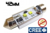 Navette Led 42mm -C10W-10 Watts - Leds CREE - radiateur - sans erreur ODB - Blanc 6000K