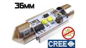 Navette Led 36mm C5W- 10 Watts CREE radiateur sans erreur ODB Blanc 6000K