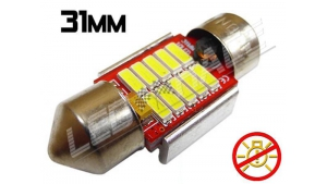 Navette Led 31mm -C3W- 10 Leds smd 4014 - radiateur - sans erreur ODB - Blanc 6000K