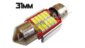 Navette led 31mm - C3W - 10 Leds smd 4014 - radiateur - Blanc 6000K