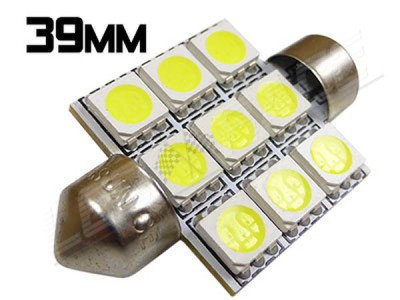 Navette Led 39mm - C7W - 9 Leds smd 5050 - Blanc 6000K