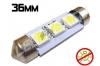 Navette Led 36mm -C5W- 3 Leds smd 5050 - sans erreur ODB - Blanc 6000K