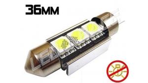 Navette Led 36mm -C5W- 3 Leds smd 5050 - radiateur - sans erreur ODB - Blanc 6000K