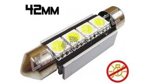 Navette Led 42mm -C10W- 4 Leds smd 5050 - radiateur - sans erreur ODB - Blanc 6000K