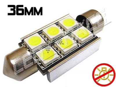 Navette Led 36mm -C5W- 6 Leds smd 5050 - radiateur - sans erreur ODB - Blanc 6000K