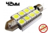 Navette Led 42mm -C10W- 8 Leds smd 5050 - radiateur - sans erreur ODB - Blanc 6000K