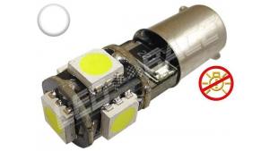 Ampoule Led H6W - culot BAX9S - 5 leds smd 5050 - sans erreur ODB - Blanc 6000k