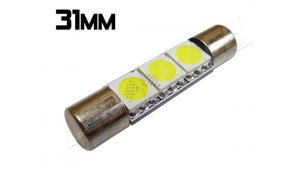 Navette Led Low Profile - 31mm - 3 leds smd 5050 - Blanc 6000K