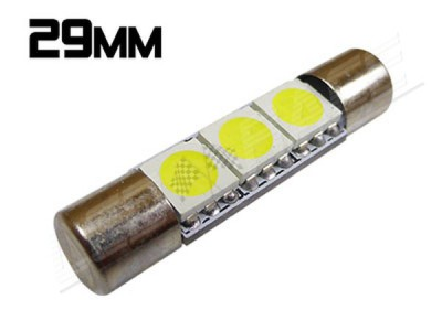 Navette Led Low Profile - Slim - 29mm - 3 leds smd 5050 - Blanc 6000K