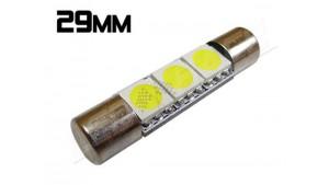 Navette Led Low Profile - 29mm - 3 leds smd 5050 - Blanc 6000K