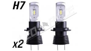 Pack 2 Mini Ampoules led phare haute puissance H7 Homologation E9