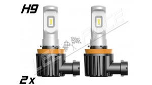 Pack 2 Mini Ampoules Led H9 coudées Haute puissance homologuées E9